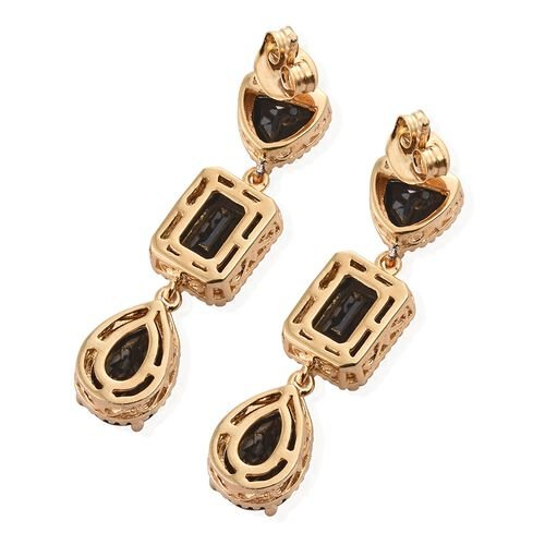 Black Tourmaline (Pear) Earrings (with Push Back) in 14K Gold Overlay Sterling Silver 11.500 Ct.