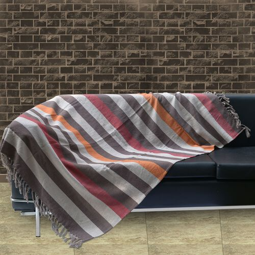 100% Cotton Brown, Beige and Multi Colour Stripe Pattern Plaid with Fringes at the Bottom (Size 160x120 Cm)