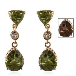Alexite (Pear), White Topaz Earrings (with Push Back) in 14K Gold Overlay Sterling Silver 8.750 Ct.