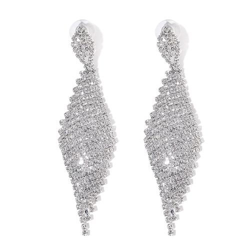 (Option 3) AAA White Austrian Crystal Chandelier Earrings (with Push Back) in Silver Tone