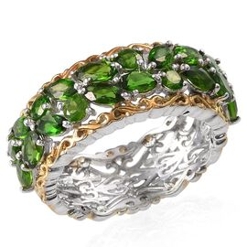Russian Diopside (Ovl) Ring in Platinum and Yellow Gold Overlay Sterling Silver 3.750 Ct.