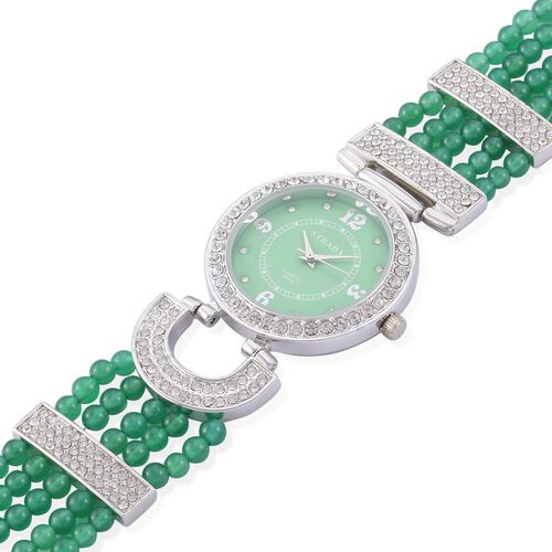STRADA Japanese Movement Green Agate and Austrian Crystal Studded Watch