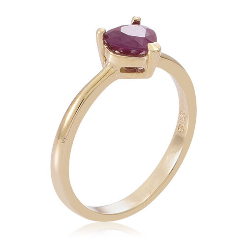 9K Y Gold Burmese Ruby (Hrt) Solitaire Ring 1.000 Ct.