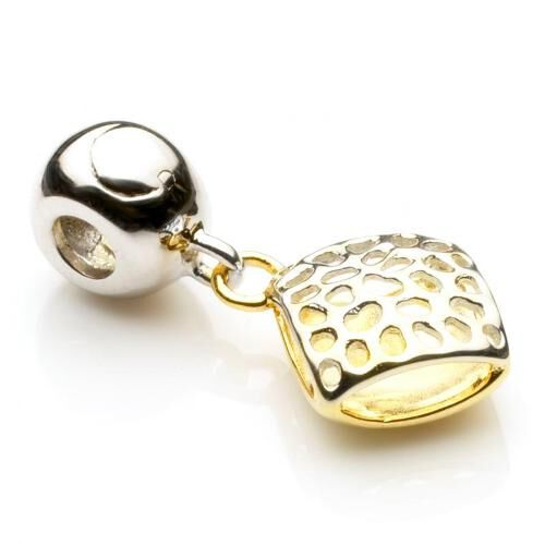 RACHEL GALLEY 14K Gold Overlay Sterling Silver Memento Pillow Dangly Bead Charm Pendant, Silver wt 3.20 GM