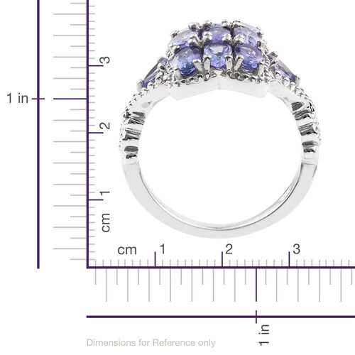 Tanzanite (Ovl) Ring in Platinum Overlay Sterling Silver 2.250 Ct.