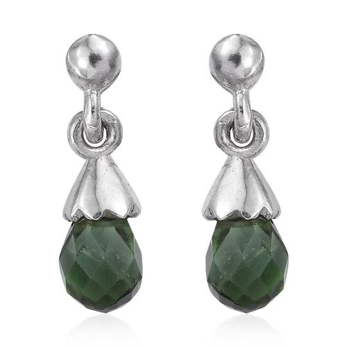 Checkerboard Cut Green Tourmaline Earrings (with Push Back) in Platinum Overlay Sterling Silver 1.250 Ct.