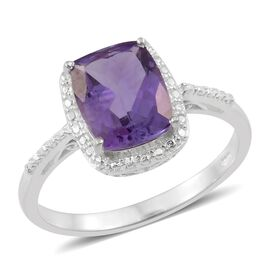 Amethyst (Cush) Solitaire Ring in Sterling Silver 2.750 Ct.