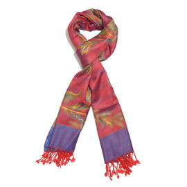 Blue, Raspberry Multi Colour Floral and Leaves Pattern Scarf with Fringes (Size 180x70 Cm)
