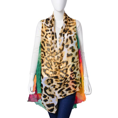 Green, Pink, Yellow and Multi Leopard Pattern Colour Poncho (Free Size)