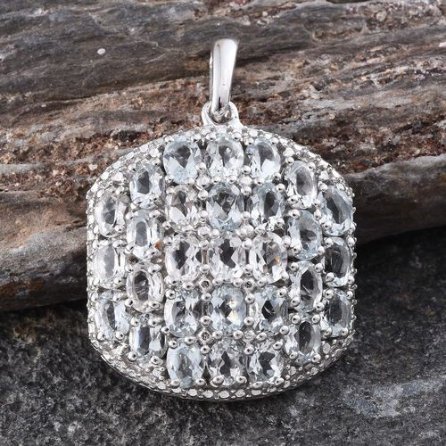 Espirito Santo Aquamarine (Ovl) Cluster Pendant in Platinum Overlay Sterling Silver 4.000 Ct.