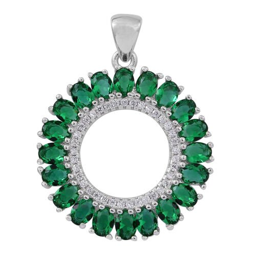 ELANZA AAA Simulated Emerald (Ovl), Simulated Diamond Circle of Love Pendant in Rhodium Plated Sterling Silver