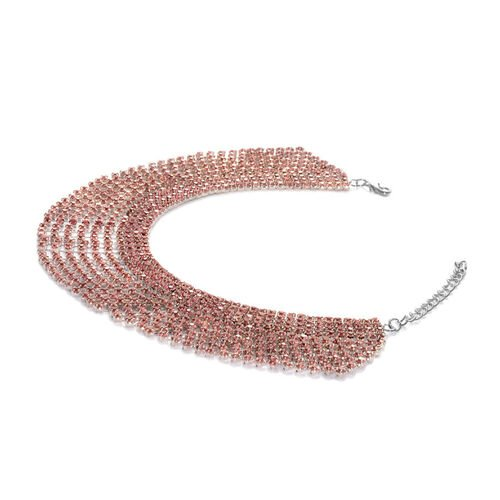 AAA Pink Austrian Crystal Bracelet (Size 8.5 with 2 inch Extender) in Silver Tone