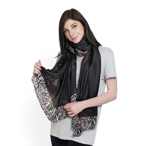 100% Mulberry Silk Black, White and Multi Colour Leopard and Zebra Pattern Scarf (Size 180x100 Cm)