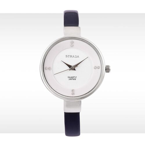 STRADA Japanese Movement White Dial with White Austrian Crystal Water Resistant Watch in Silver Tone with Stainless Steel Back and Dark Blue Colour Strap