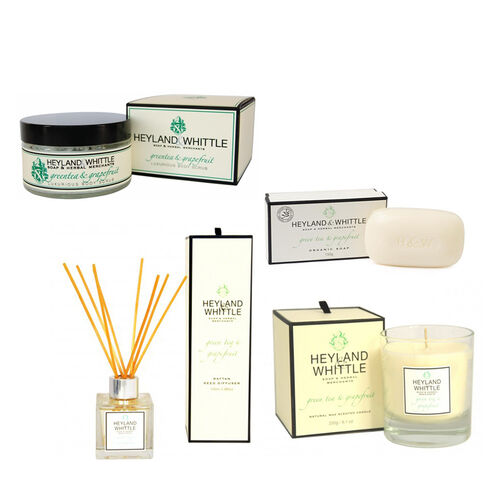 HEYLAND AND WHITTLE GreenTea and Grapefruit Body Scrub, Organic Soap, Diffuser, Candle
