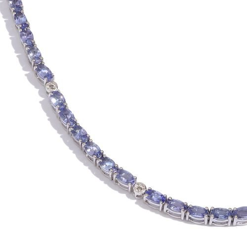 AA Tanzanite (Ovl), Diamond Necklace (Size 20) in Platinum Overlay Sterling Silver 24.100 Ct.