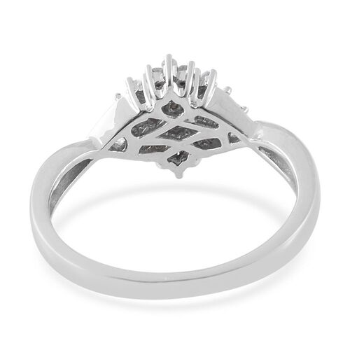 Designer Inspired - Fire Cracker Diamond (Rnd) Ring in Platinum Overlay Sterling Silver 0.330 Ct.