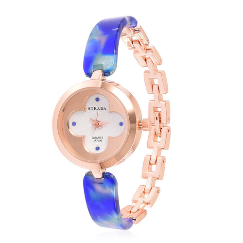 STRADA Japanese Movement Blue Austrian Crystal Studded White Dial Watch in Rose Gold Tone with Stainless Steel Back and Blue Colour Strap