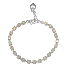 Limited Edition- Ethiopian Welo Opal (Ovl) Bracelet (Size 7 with 1 inch Extender) in Platinum Overlay Sterling Silver 5.000 Ct.