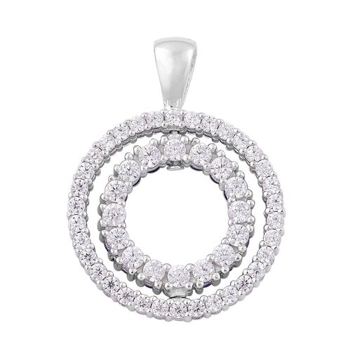 ELANZA AAA Simulated Amethyst and Simulated White Diamond Circle Pendant in Rhodium Plated Sterling Silver