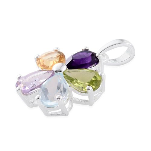 Hebei Peridot (Pear), Sky Blue Topaz, Rose De France Amethyst, Citrine and Amethyst Floral Pendant in Sterling Silver 3.00 Ct.