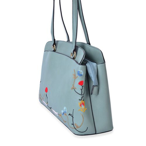 Floral Embroidered Green Colour Tote Bag (Size 35.5x24x11.5 Cm) with External Zipper Pocket