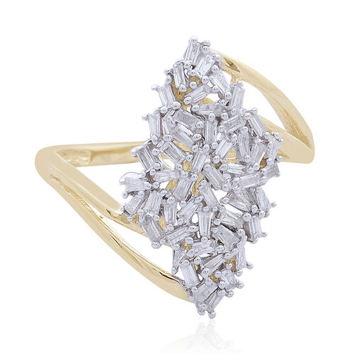 Designer Inspired-  Limited Edition 9K Yellow Gold Fire Cracker Diamond (Bgt) (GH/I1-I2) Ring 0.500 Ct.