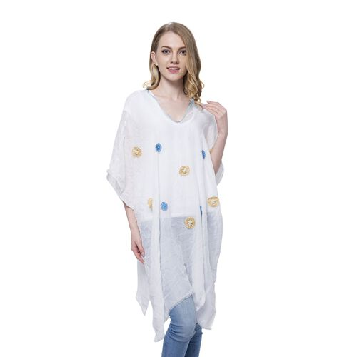 Blue and Yellow Colour Small 3D Floral Pattern White Colour Poncho (Size 90x90 Cm)