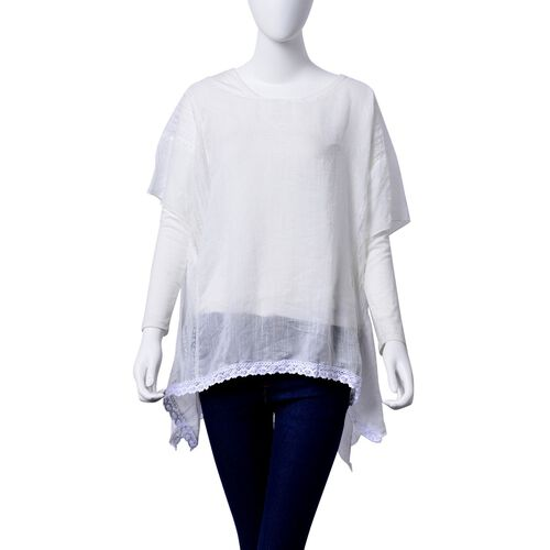 White Colour Top with Lace Detail finishing on the Hem  (Size 85x70 Cm)