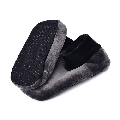 New Season-Set of 3 - Grey and Black Dotted Print 100% Polyester Fleece Sherpa Set Bootie Socks (Size one for all)
