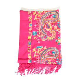 Blue, Yellow, Green and Multi Colour Embroidered Rose Red Colour Scarf with Tassels (Size 180x65 Cm)