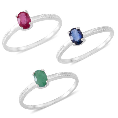 One Time Deal-Set of 3 - African Ruby (Ovl), Madagascar Blue Sapphire and Indian Emerald Solitaire Ring in Sterling Silver.