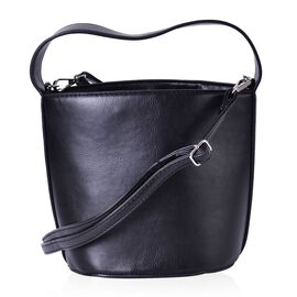 Black Colour Tote Bag with Adjustable and Removable Shoulder Strap (Size 21x17.5x17x14.5 Cm)