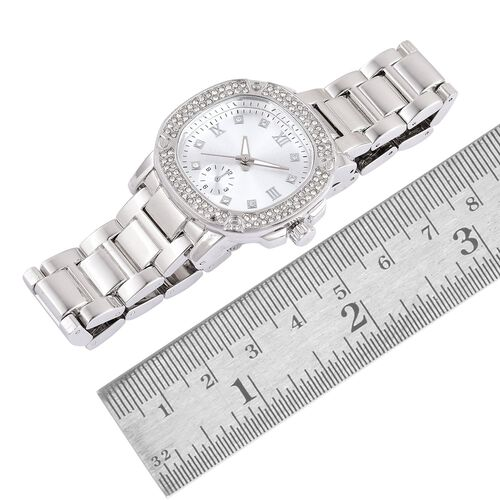 GENOA Japanese Movement Roman Numerals Watch with White Austrian Crystal in Silver Tone and Stainless Steel Back