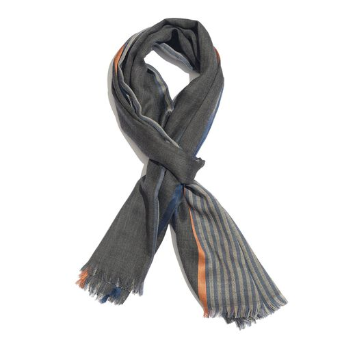 92% Merino Wool and 8% Silk Dark Grey, Blue and Orange Colour Stripes Pattern Scarf with Fringes (Size 180X70 Cm)