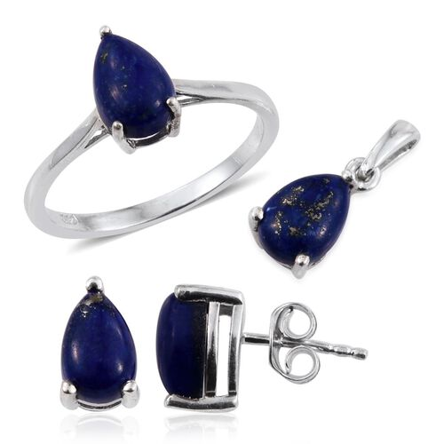 Lapis Lazuli (Pear) Solitaire Ring, Pendant and Stud Earrings (with Push Back) in Platinum Overlay Sterling Silver 6.000 Ct.