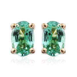 ILIANA 18K Yellow Gold 0.75 Ct AAA Boyaca Colombian Emerald Solitaire Stud Earrings (with Screw Back)