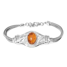 Baltic Amber (Ovl) Bracelet (Size 8 with Extender) in Rhodium Plated Sterling Silver.