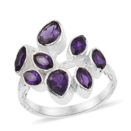 Amethyst Water Drop Ring in Sterling Silver 2.690 Ct. Silver wt 5.76 Gms.