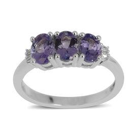14K W Gold AA Tanzanite (Ovl), Diamond Ring 1.360 Ct.