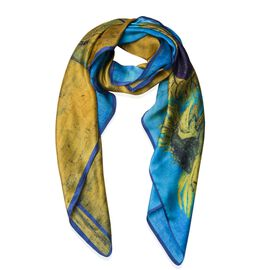 100% Mulberry Silk Yellow, Blue and Multi Colour Sunflowers Printed Scarf (Size 86x86 Cm) (Weight 35 Gms)