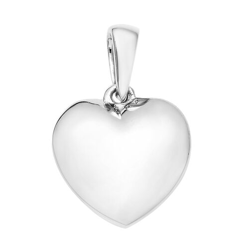 Silver Heart Pendant and Earrings in Platinum Overlay (with Push Back)
