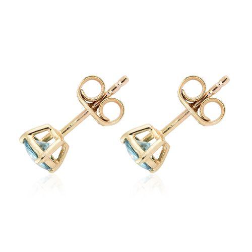 9K Yellow Gold AAA Cambodian Blue zircon (Rnd) Stud Earrings (with Push Back) 1.000 Ct.