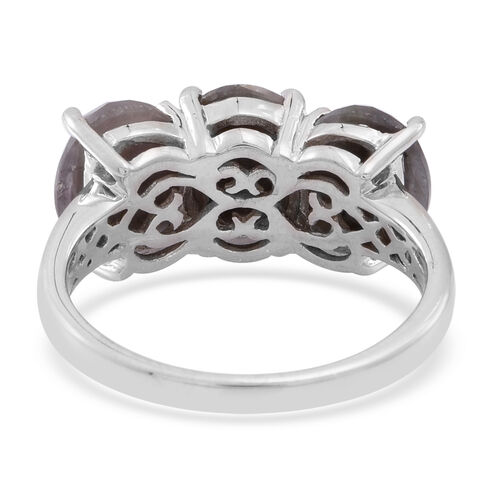 Natural Silver Sapphire (Ovl) Trilogy Ring in Rhodium Plated Sterling Silver 10.000 Ct.