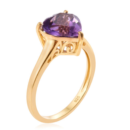Amethyst 3 Carat Silver Heart Ring in Gold Overlay