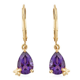 Amethyst 2 Ct Silver Lever Back Earrings in Gold Overlay
