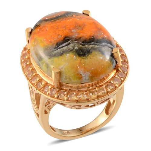 Bumble Bee Jasper (Ovl 17.00 Ct), Citrine Ring in 14K Gold Overlay Sterling Silver 18.250 Ct.