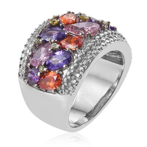 AAA Simulated Pink Sapphire (Pear), Simulated Tanzanite, Simulated Fire Opal, Simulated Citrine, Simulated Amethyst and Simulated Peridot Ring in ION Plated Stainless Steel