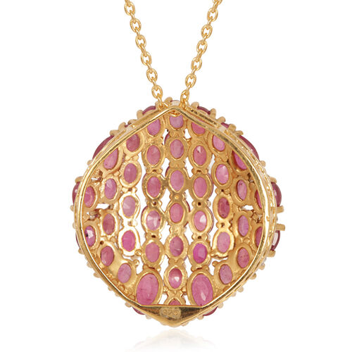 African Ruby (Ovl) Cluster Pendant With Chain in 14K Gold Overlay Sterling Silver 13.250 Ct.