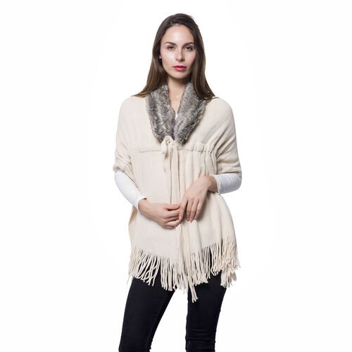 Cream Colour Faux Fur Scarf with Collar and Tassels (Size 165x50 Cm)